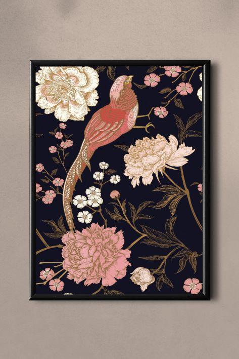PAND LABEL KAART A5    VINTAGE FLOWER BIRDS PINK