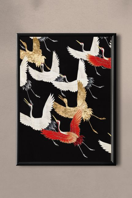 PAND LABEL KAART A5 |  Japanese flying cranes vintage